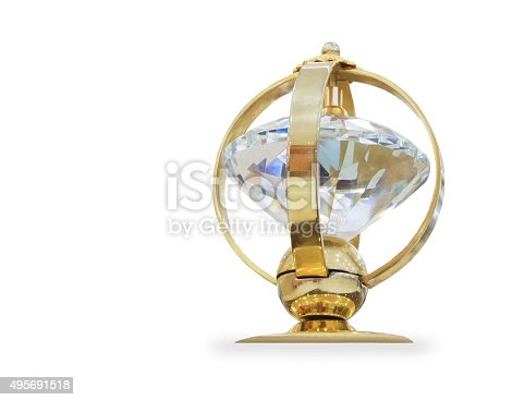544347868 istock photo Futuristic golden prize isolated over white 495691518