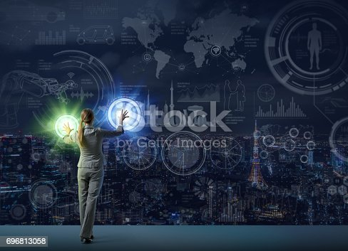 istock futuristic graphical interface and system engineer, abstract image visual 696813058