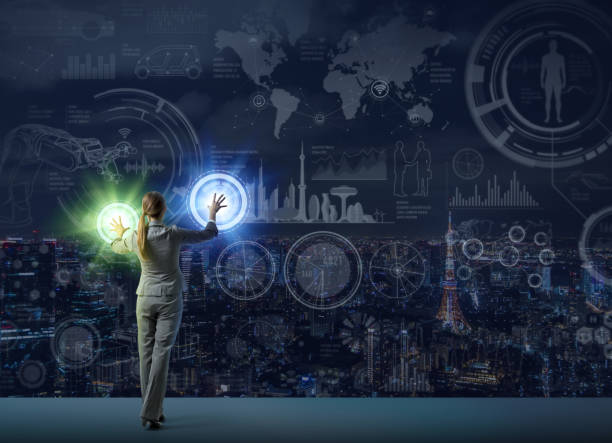futuristic graphical interface and system engineer, abstract image visual stock photo
