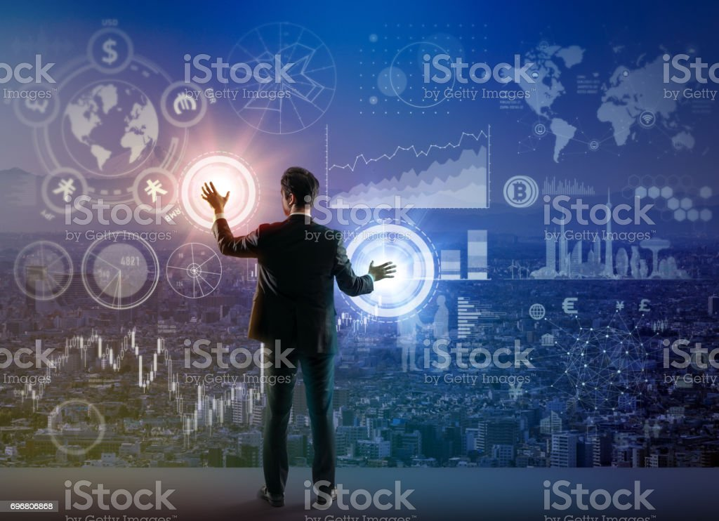 Ingeniero de interfaz y gráfico futuro, tecnología financiera, imagen abstracta visual - foto de stock