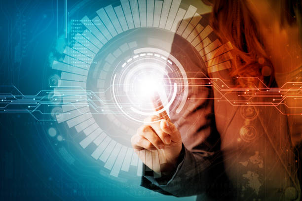 futuristic graphical user interface concept. businesswoman pointing virtual screen. Internet of Things. Heads up display. technological abstract. stock photo