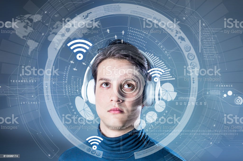 futuristic graphical user interface concept, heads up display, wearable computing, wearable device, internet of things, abstract image visual stock photo
