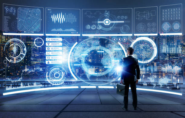 futuristic graphical user interface concept. - hud graphical user interface stock pictures, royalty-free photos & images
