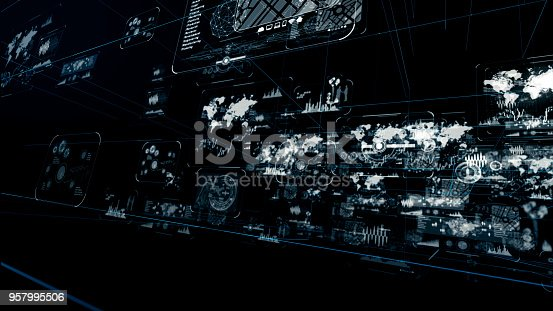 istock Futuristic graphical user interface. 957995506