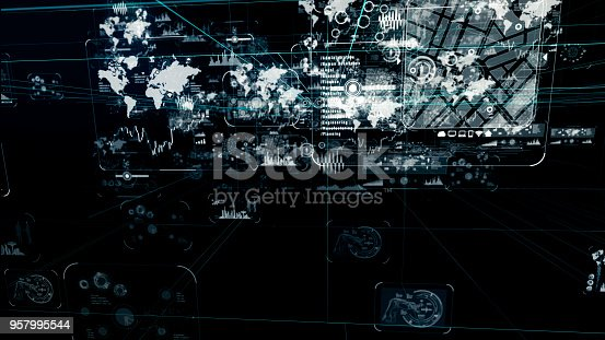 istock Futuristic graphical user interface. 957995544