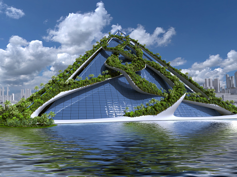 Futuristic green city 3d rendering with a glass pyramid and organic structures covered in vegetation, for environmental architectural backgrounds.