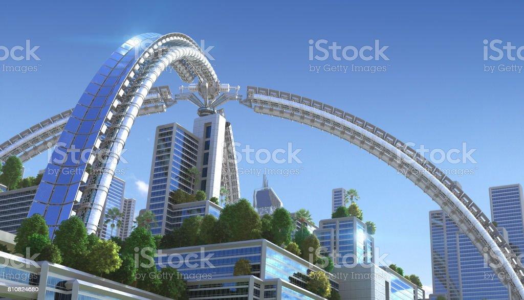 3D futuristic green city. stock photo