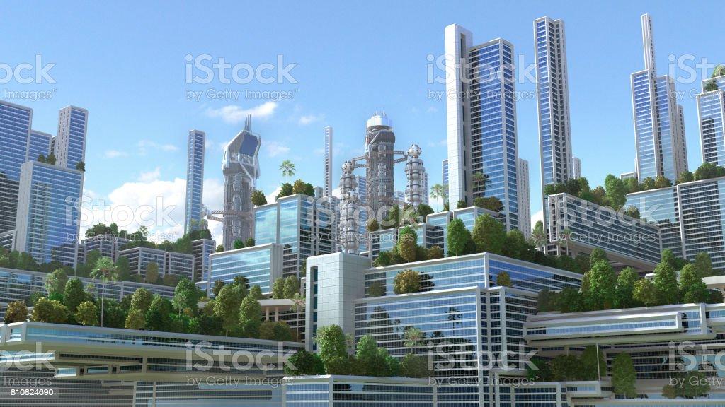 3D futuristische groene stad. foto
