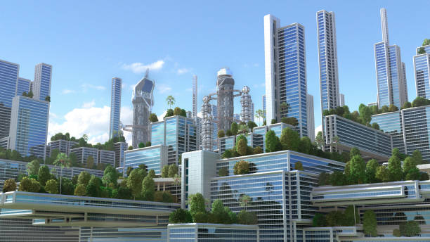 3d futuristic green city. - futuristic stock photos and pictures