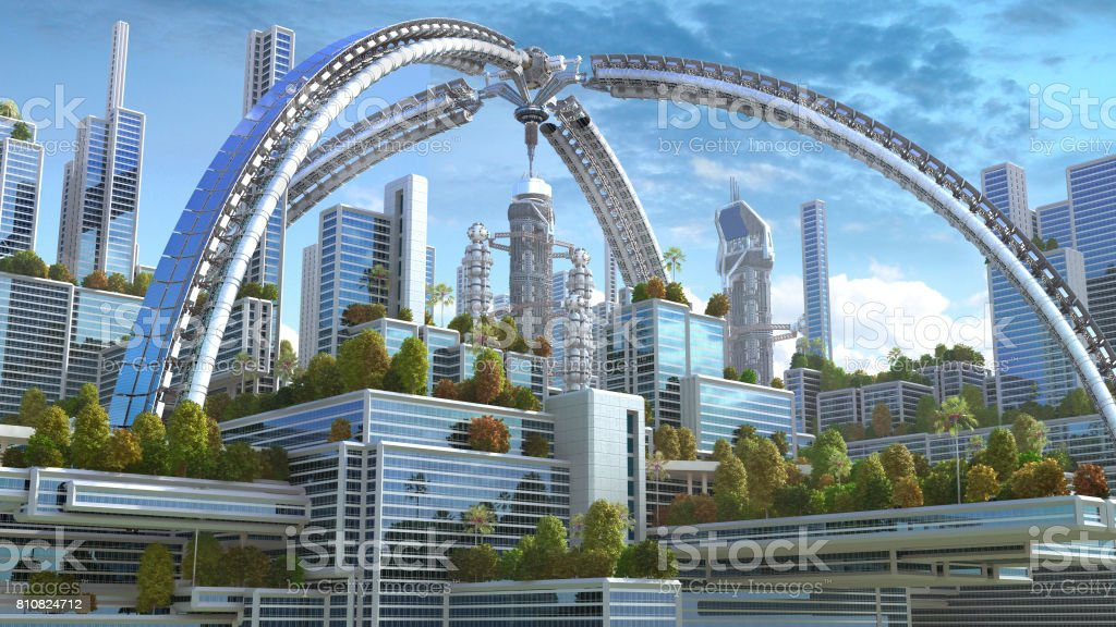 3D futuristic green city stock photo