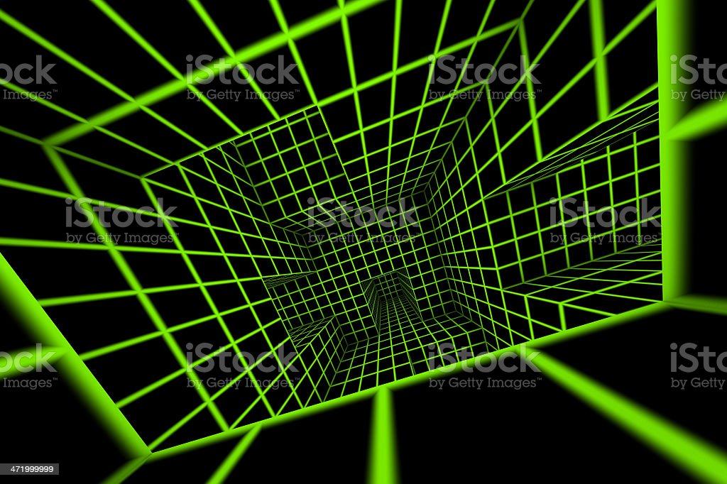 futuristic green on black 3d render tiled labyrinth royalty-free stock photo