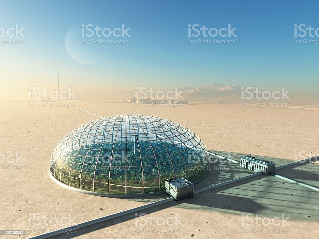futuristic greenhouse in desert stock photo
