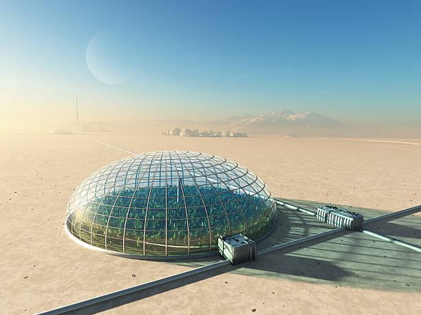 futuristic greenhouse in desert - kas bouwwerk stockfoto's en -beelden