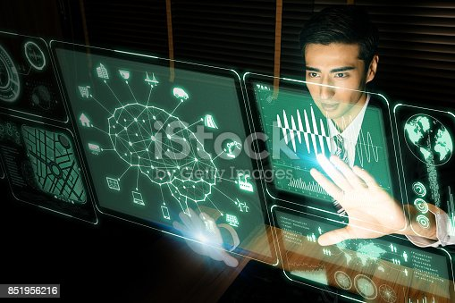 istock futuristic GUI. Artificial Intelligence. graphical user interface. head up display. 851956216
