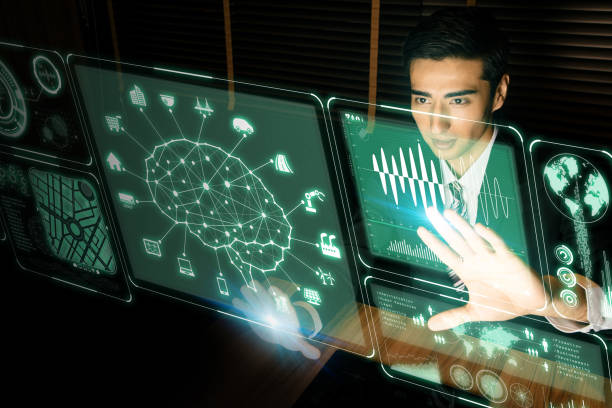futuristic GUI. Artificial Intelligence. graphical user interface. head up display. stock photo