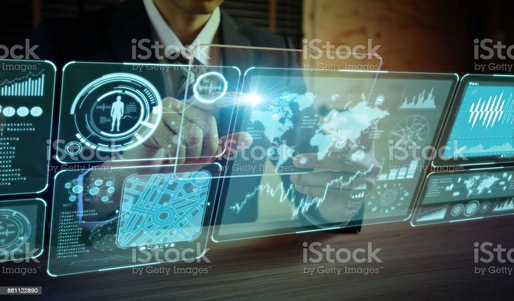 futuristic GUI. graphical user interface. head up display. royalty-free stock photo