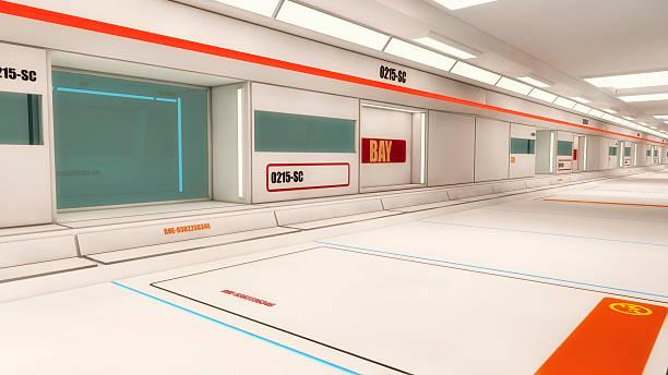 futuristische halle alien raumschiff - eingangshalle wohngebäude innenansicht stock-fotos und bilder