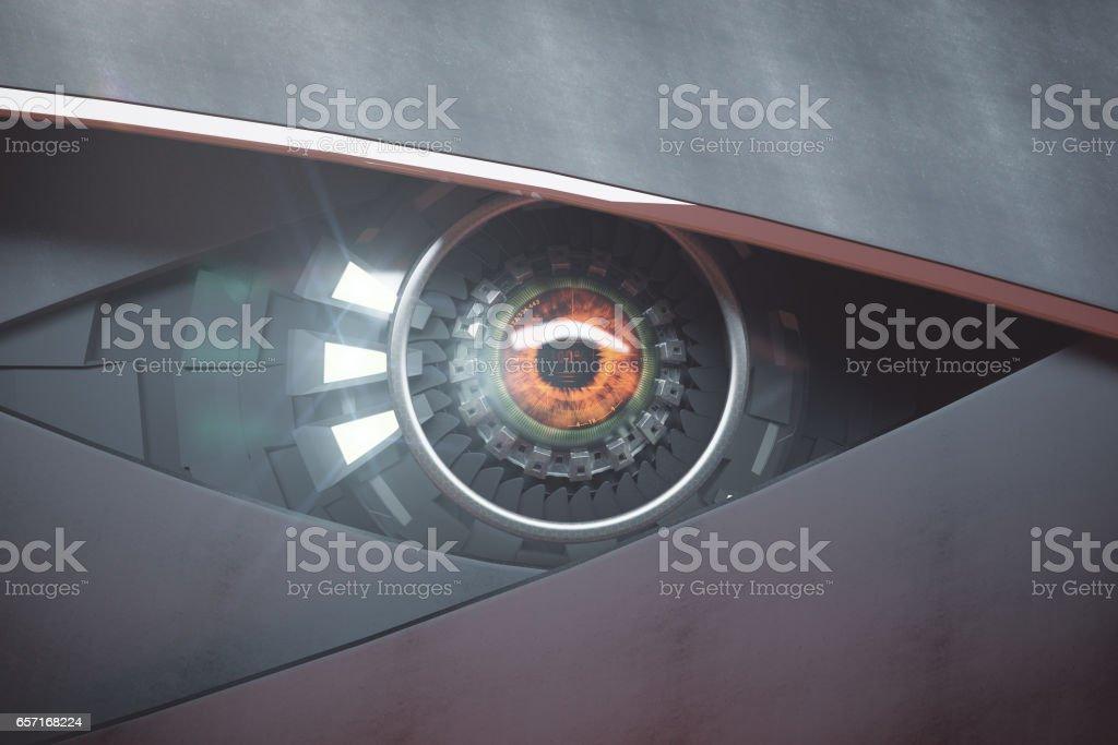 Futuristic hazel eye stock photo