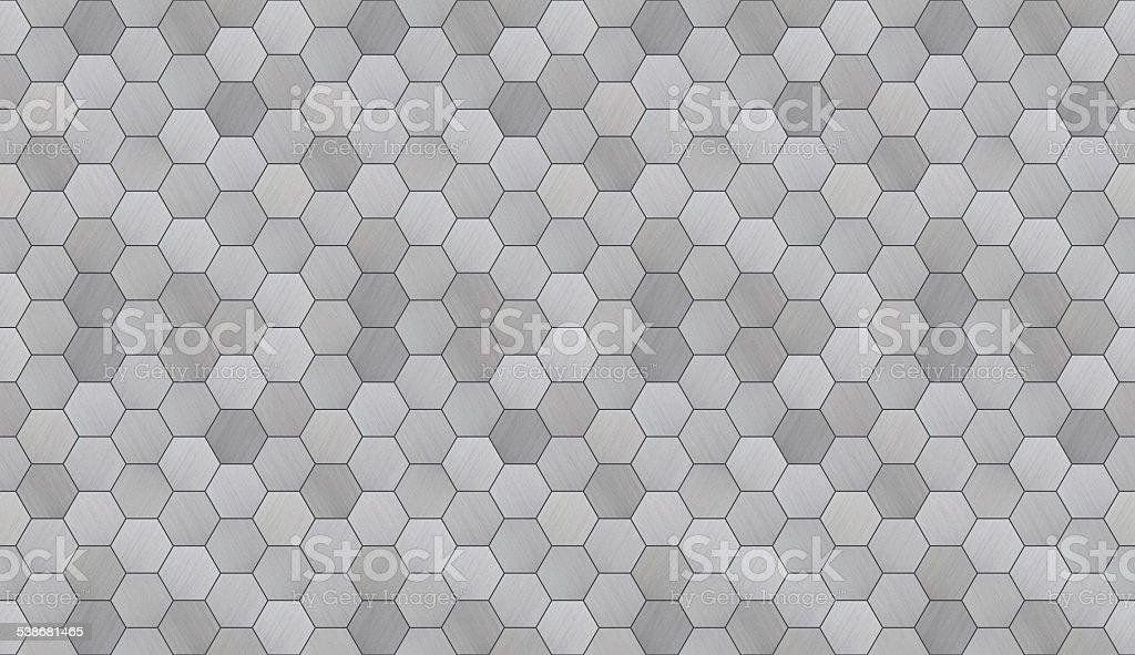 Futuristic Hexagonal Aluminum Tiled Seamless Texture stock photo
