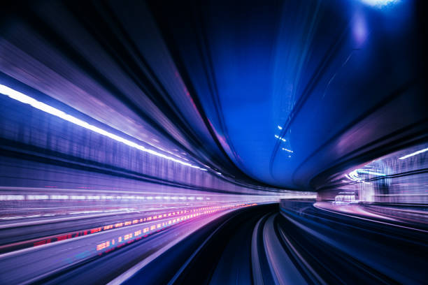 Futuristic High Speed Light Tail with Night City Background stock photo
