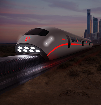 Concept of a futuristic high speed monorail train with magnetic levitation connecting a city, 3d render
