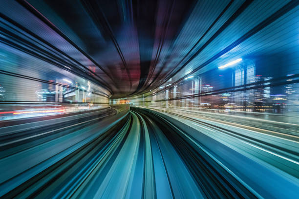 Futuristic High Speed Train Motion Blur Abstract Tokyo Japan