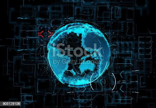 istock Futuristic hologram of the planet Earth on digital background data and the light fluxes 905129106