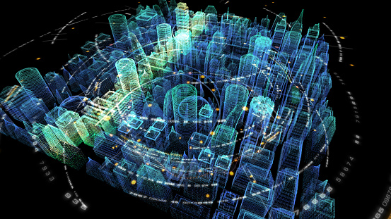 Futuristic holographic 5G digital wireless high speed fifth innovative generation for cellular network connectivity, high speed Internet broadband network and telecommunication concept with holographic city