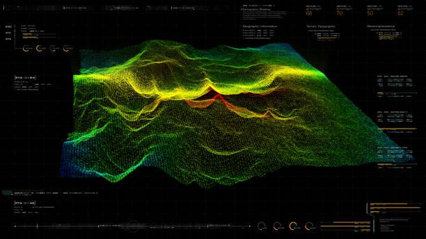 futuristisk holografisk terräng head up-skärm - geologi bildbanksfoton och bilder
