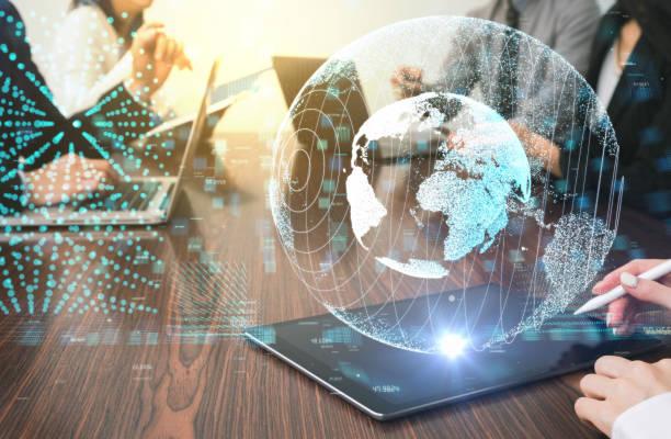 futuristic holographic vision. global network concept. - business woman hologram imagens e fotografias de stock