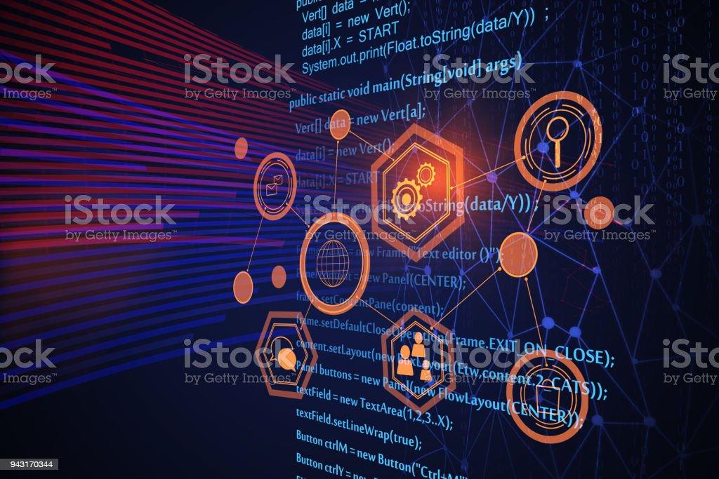 Futuristic HTML background stock photo