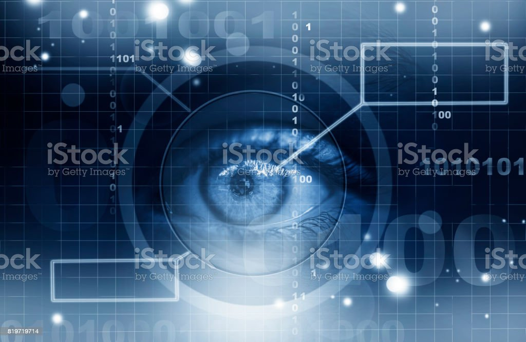 Futuristic human eye stock photo
