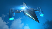 Technological ghost fighter is flying on the sky.