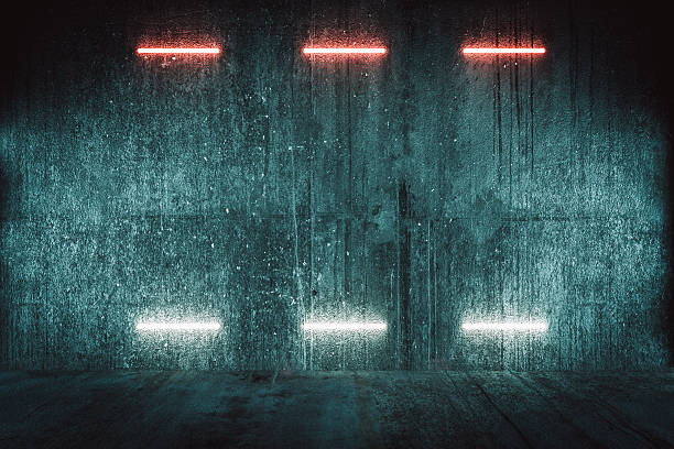 Futuristic illuminated red wall, background Futuristic illuminated red wall, background. bomb shelter stock pictures, royalty-free photos & images