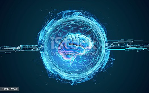 992017166 istock photo Futuristic illustration of hologram of the brain 989262520