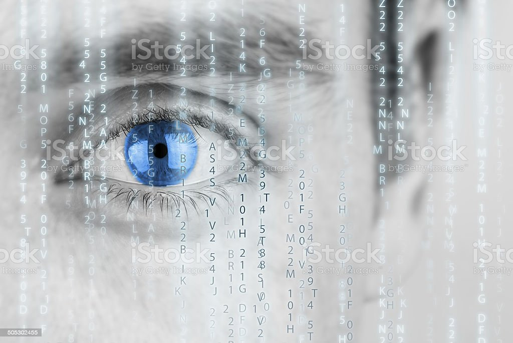 Futuristic image with matrix texture stock photo