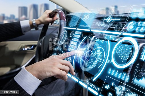 istock Futuristic instrument panel of vehicle. 966859036