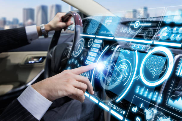 Futuristic instrument panel of vehicle. Futuristic instrument panel of vehicle. dashboard vehicle part stock pictures, royalty-free photos & images