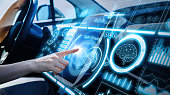 Futuristic instrument panel of vehicle.