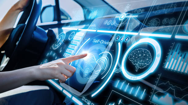 Futuristic instrument panel of vehicle. stock photo