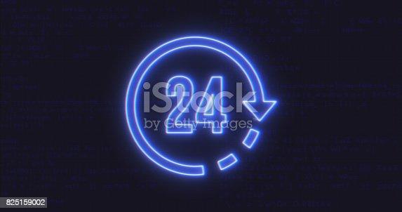 istock Futuristic Interface 24 Icon on Computer Code Background 825159002