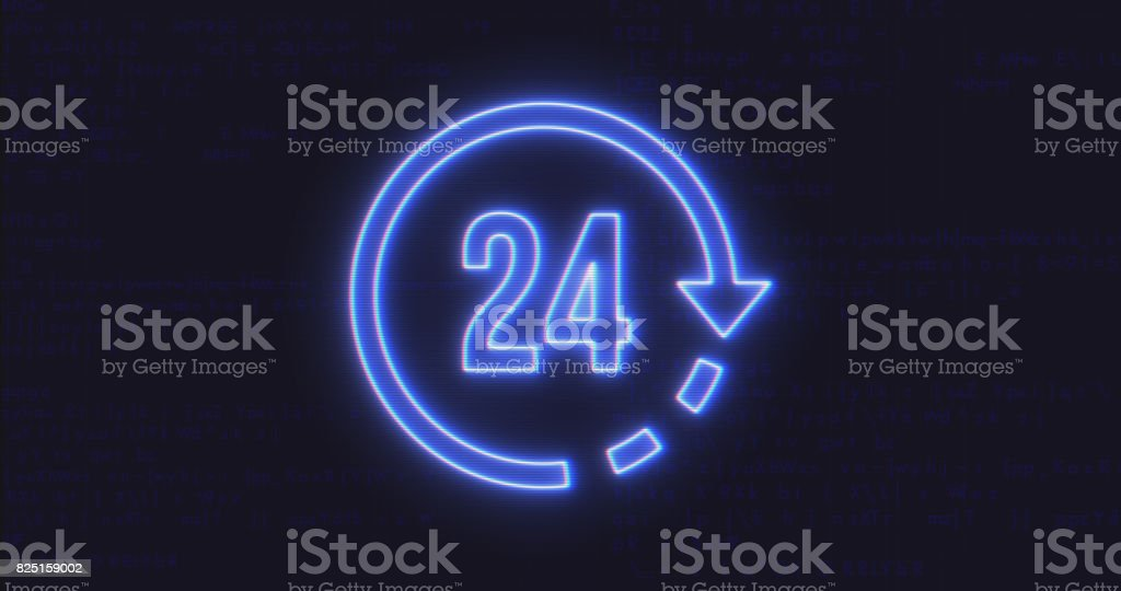Futuristic Interface 24 Icon on Computer Code Background stock photo
