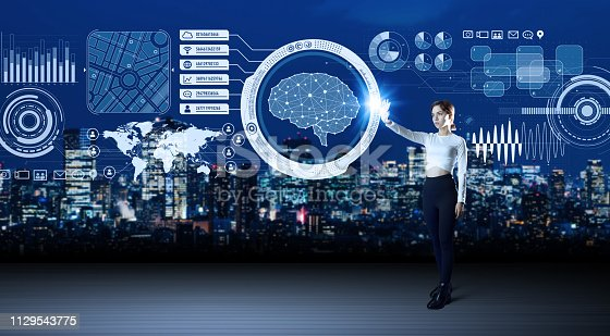 istock Futuristic interface and an engineer. 1129543775