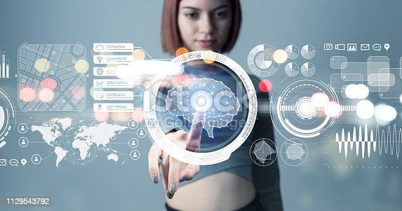 istock Futuristic interface and an engineer. 1129543792