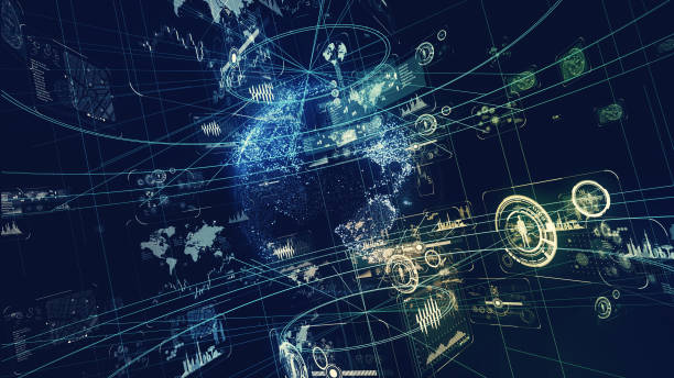 futuristiska gränssnitt koncept. - jorden nyheter bildbanksfoton och bilder