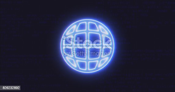 istock Futuristic Interface Global Network Icon on Computer code running Background 826232892