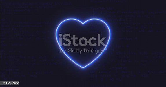 istock Futuristic Interface Heart Icon on Computer code running Background 826232922