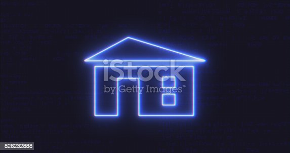 istock Futuristic Interface Home Icon on Computer code running Background 826232888