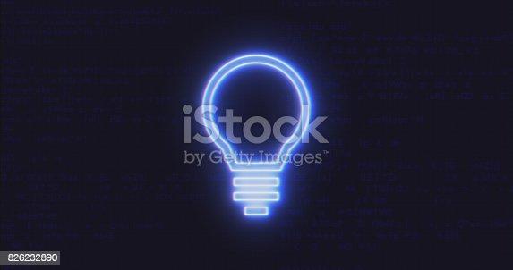 istock Futuristic Interface Light Bulb Icon on Computer code running Background 826232890