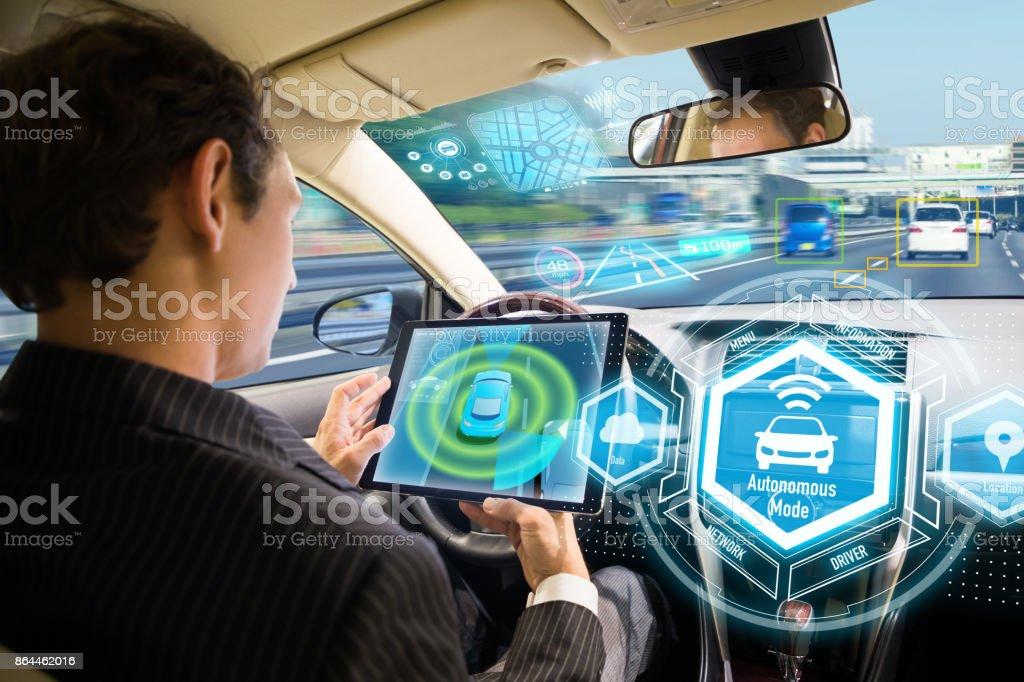 Interfaz futurista de coches autónomas. Mismo vehículo. Coche sin conductor. - Foto de stock de Abstracto libre de derechos